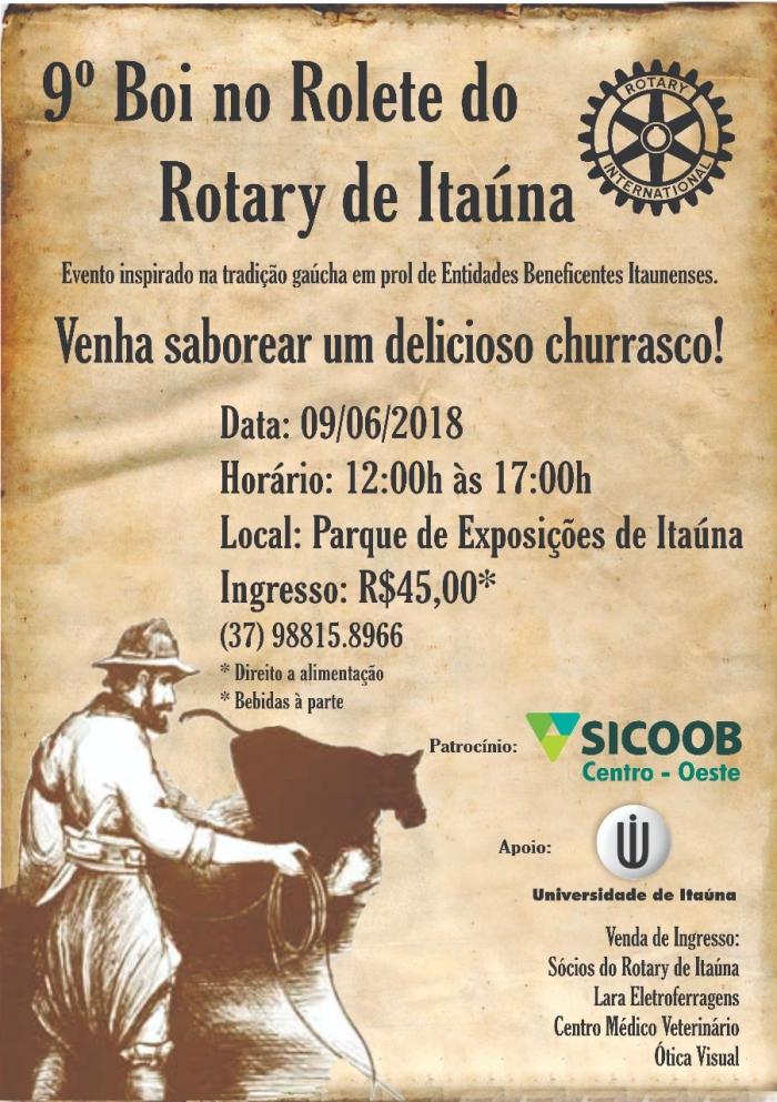 Rotary de Itaúna realiza 9ª edição do Boi no Rolete